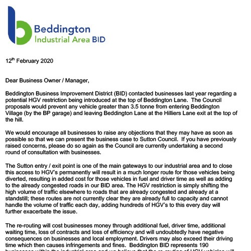 Letter sent to businesses 02/2020