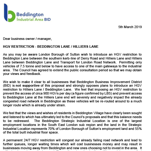 Letter sent to businesses 03/2019